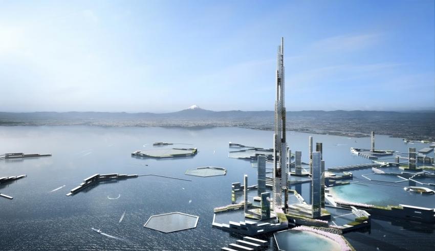 تجسم توکیو در سال ۲۰۴۵ با آسمان خراشی یک مایلی -
